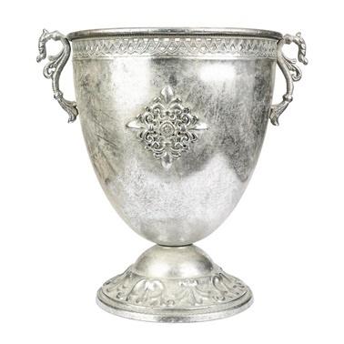 Vitale Marial Gümüş Metal Oval Kupa Vazo Renkli